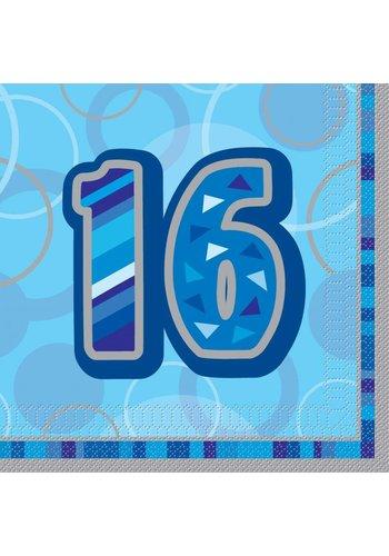 Blue Glitz servetten 16 - 33x33cm - 16 stuks