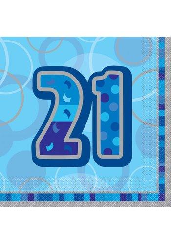 Blue Glitz servetten 21 - 33x33cm - 16 stuks