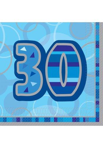 Blue Glitz servetten 30 - 33x33cm - 16 stuks