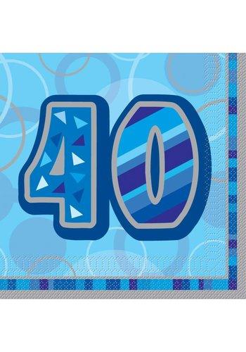 Blue Glitz servetten 40 - 33x33cm - 16 stuks
