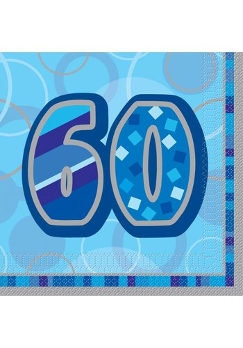 Blue Glitz servetten 60 - 33x33cm - 16 stuks