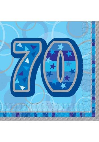 Blue Glitz servetten 70 - 33x33cm - 16 stuks