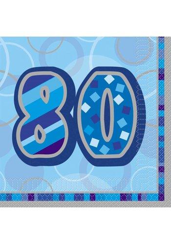 Blue Glitz servetten 80 - 33x33cm - 16 stuks