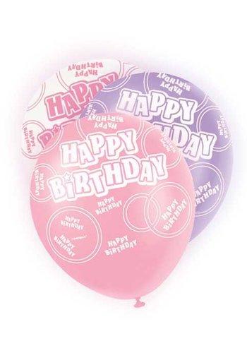 Pink Glitz ballonnen - 6 stuks