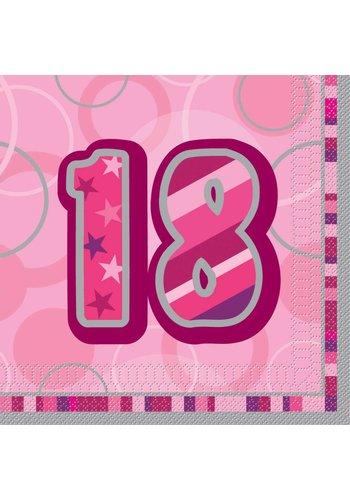 Pink Glitz servetten 18 - 33x33cm - 16 stuks