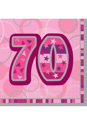 Pink Glitz servetten 70 - 33x33cm - 16 stuks