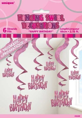 Pink Glitz swirl decoratie Happy Birthday - 6 stuks