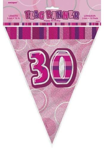 Pink Glitz vlaggenlijn 30 - 275cm