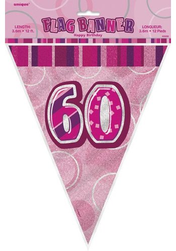 Pink Glitz vlaggenlijn 60 - 275cm