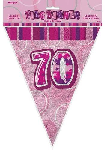 Pink Glitz vlaggenlijn 70 - 275cm