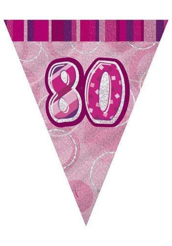 Pink Glitz vlaggenlijn 80 - 275cm