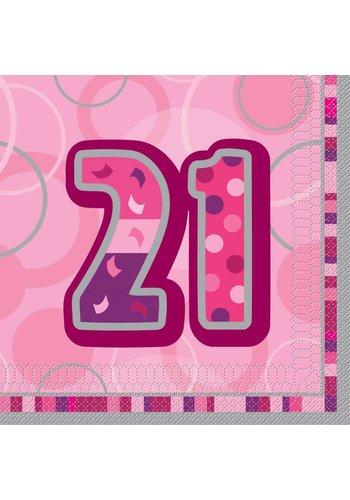 Pink Glitz servetten 21 - 33x33cm - 16 stuks