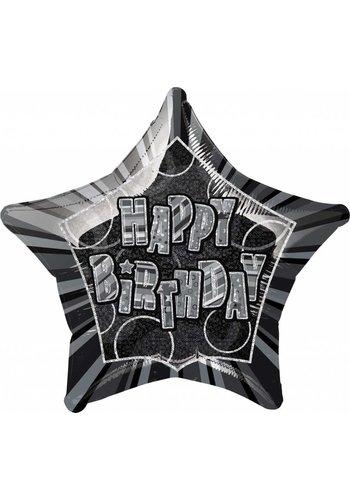 Black Glitz folieballon ster - 50cm