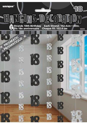 Black Glitz hangdecoratie 18 - 6 stuks