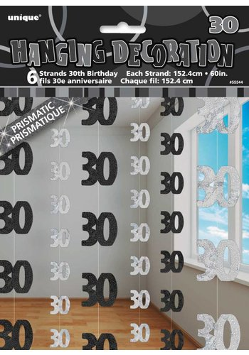 Black Glitz hangdecoratie 30 - 6 stuks