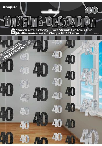 Black Glitz hangdecoratie 40 - 6 stuks