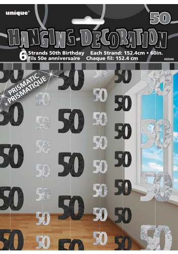 Black Glitz hangdecoratie 50 - 6 stuks