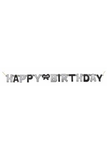 Black Glitz letter banner Happy Birthday
