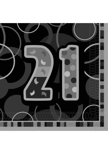 Black Glitz servetten 21 - 33x33cm - 16 stuks