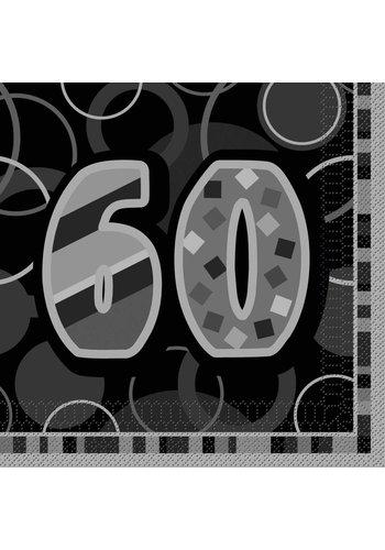 Black Glitz servetten 60 - 33x33cm - 16 stuks