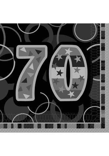 Black Glitz servetten 70 - 33x33cm - 16 stuks