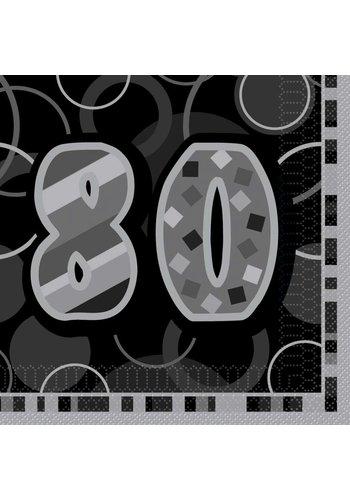 Black Glitz servetten 80 - 33x33cm - 16 stuks