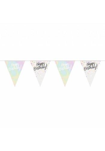 Happy Birthday Iridescent vlaggenlijn - 4 meter