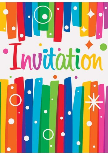 Rainbow uitnodigingen - 8 stuks