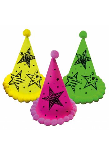 Neon hoedjes - 3 stuks