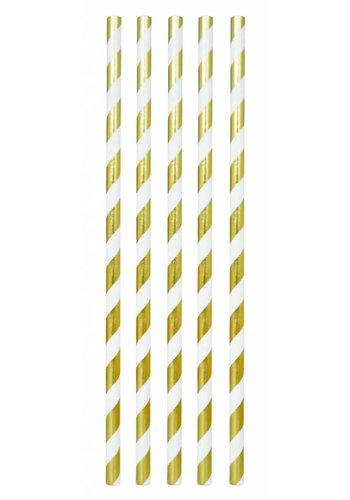 Papieren Rietjes Goud/Wit - 10 stuks - 19,5cm