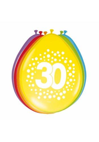 Happy Birthday Dots Ballonnen 30 - 8 stuks