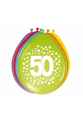 Happy Birthday Dots Ballonnen 50 - 8 stuks