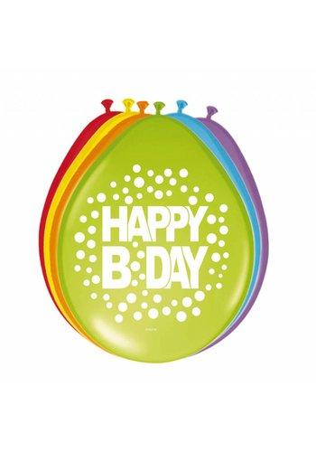 Happy Birthday Dots Ballonnen HB - 8 stuks