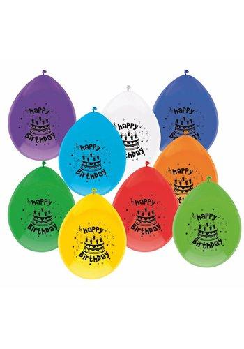 Ballonnen Happy Birthday - 8 stuks