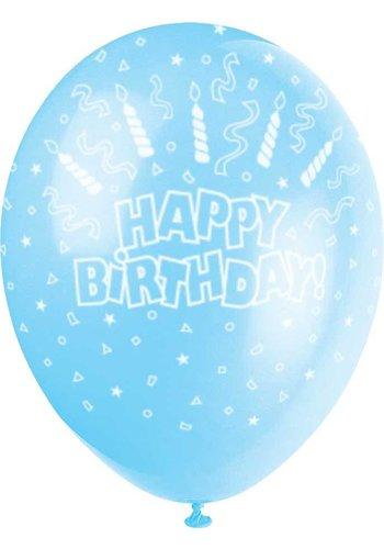 Ballonnen Happy Birthday Blauw - 30cm - 5 stuks