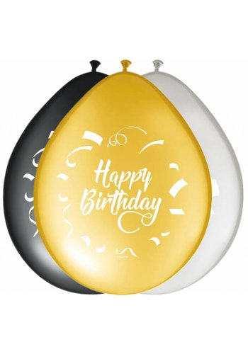 Ballonnen Happy Birthday classy - 30cm - 8 stuks