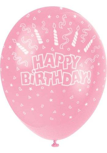 Ballonnen Happy Birthday Roze - 30cm - 5 stuks