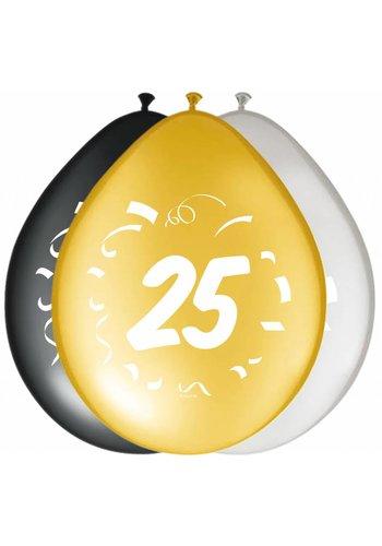 "Ballonnen ""25"" classy - 30cm - 8 stuks"