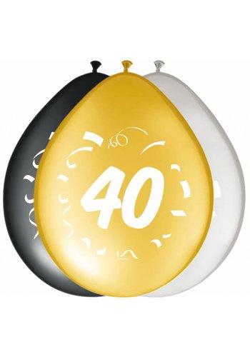 "Ballonnen ""40"" classy - 30cm - 8 stuks"