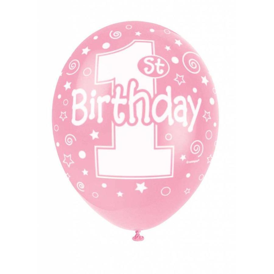Ballonnen 1 Roze - 30cm - 5 stuks-1