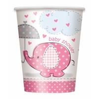Babyshower olifantje girl bekertjes 250ml - 8 stuks