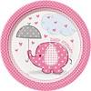 Babyshower olifantje girl bordjes 18cm - 8 stuks