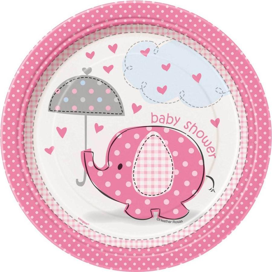 Babyshower olifantje girl bordjes 18cm - 8 stuks-1