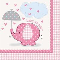 Babyshower olifantje girl servetten 33x33cm - 16 stuks