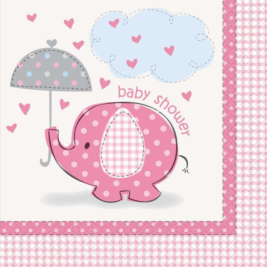 Babyshower olifantje girl servetten 33x33cm - 16 stuks-1