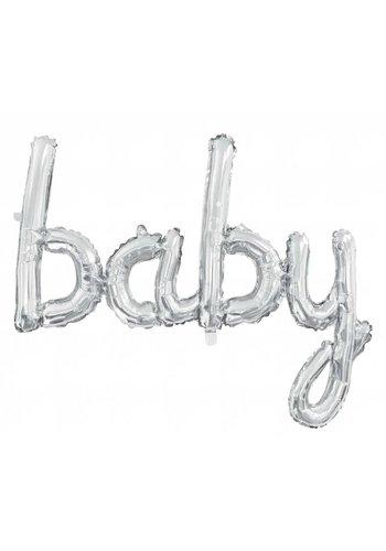 """Folieballon """"BABY"""" zilver - voor luchtvulling - 73.5 x 75.5 cm"""