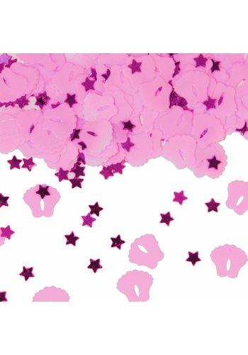 Tafelconfetti voetjes licht roze