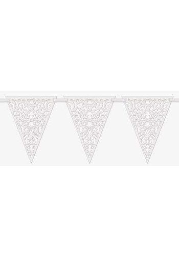 Deluxe vlaggenlijn Lace wit - 365cm