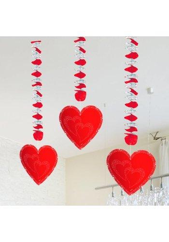 Hangdecoratie Hartjes Rood - 3 stuks