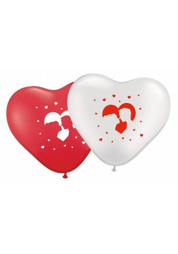 Hartjes ballonnen love - 8 stuks